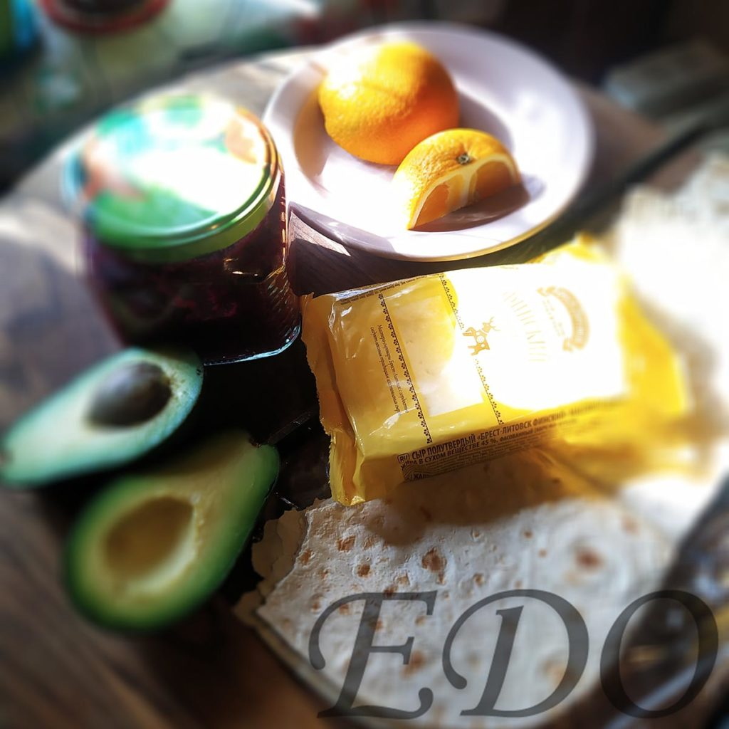 бутерброд «Трио фруктово-овощное» состав