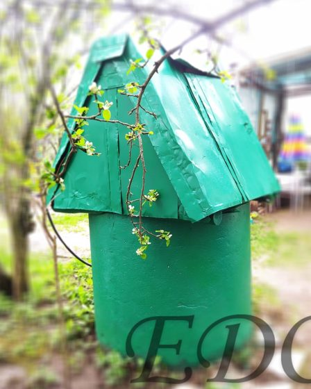 «Зеленый домик» колодец дачный красота при свете дня